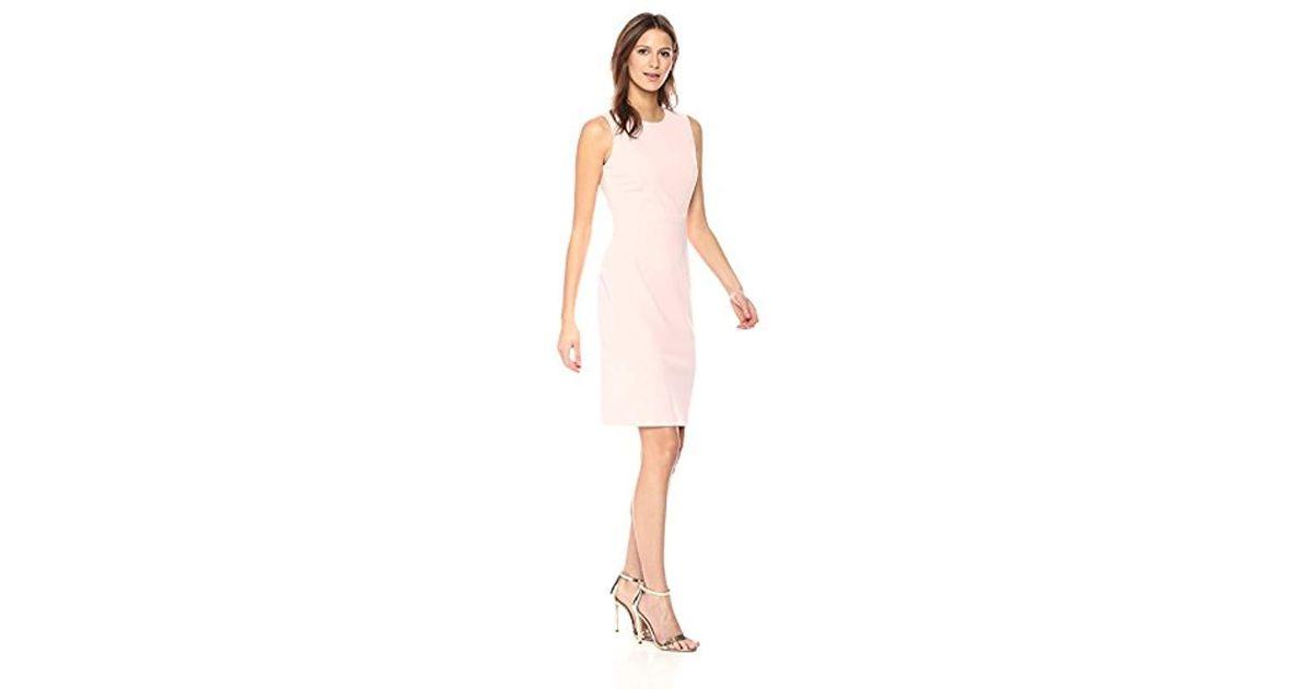 acc00a08 Calvin Klein Scuba Crepe Sleeveless Princess Seam Sheath Dress in Pink -  Lyst