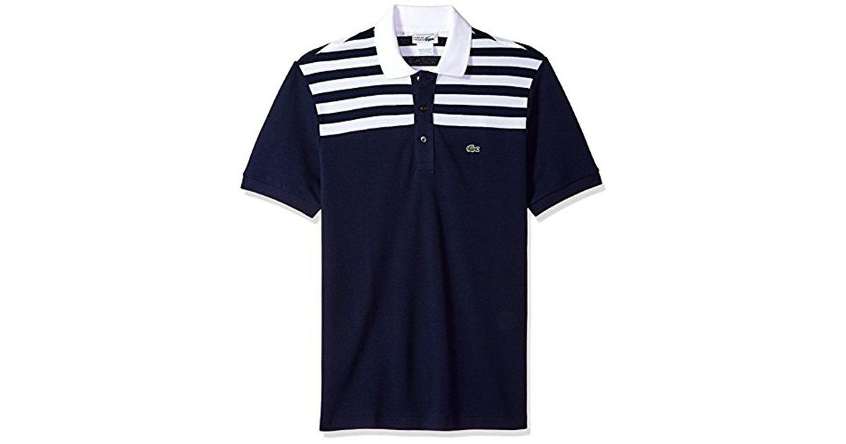 16dd60a0 Lyst - Lacoste Short Sleeve '85th Anni' 80's Stripe Original Polo, Ph7327  in Blue for Men
