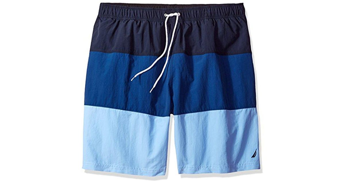 a22fd9366587a8 Nautica Big & Tall Quick Dry Color Block Swim Trunk in Blue for Men - Lyst