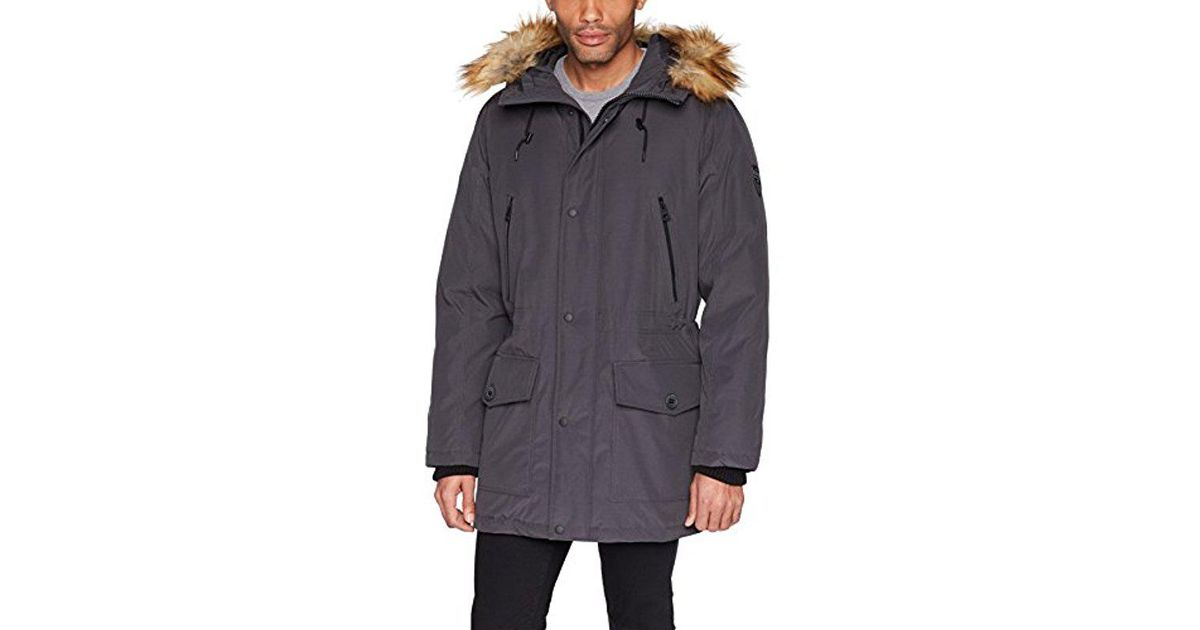 c3b7b9dc91bc Lyst - Guess Long Parka With Removable Fur for Men