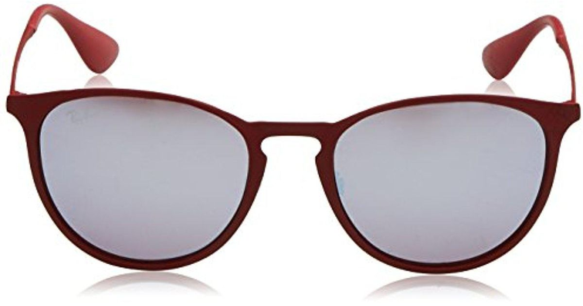 a6227e3d515 ... cheapest lyst ray ban erika metal non polarized sunglasses rb3539  bordeaux pink silver mirror 54 mm ...