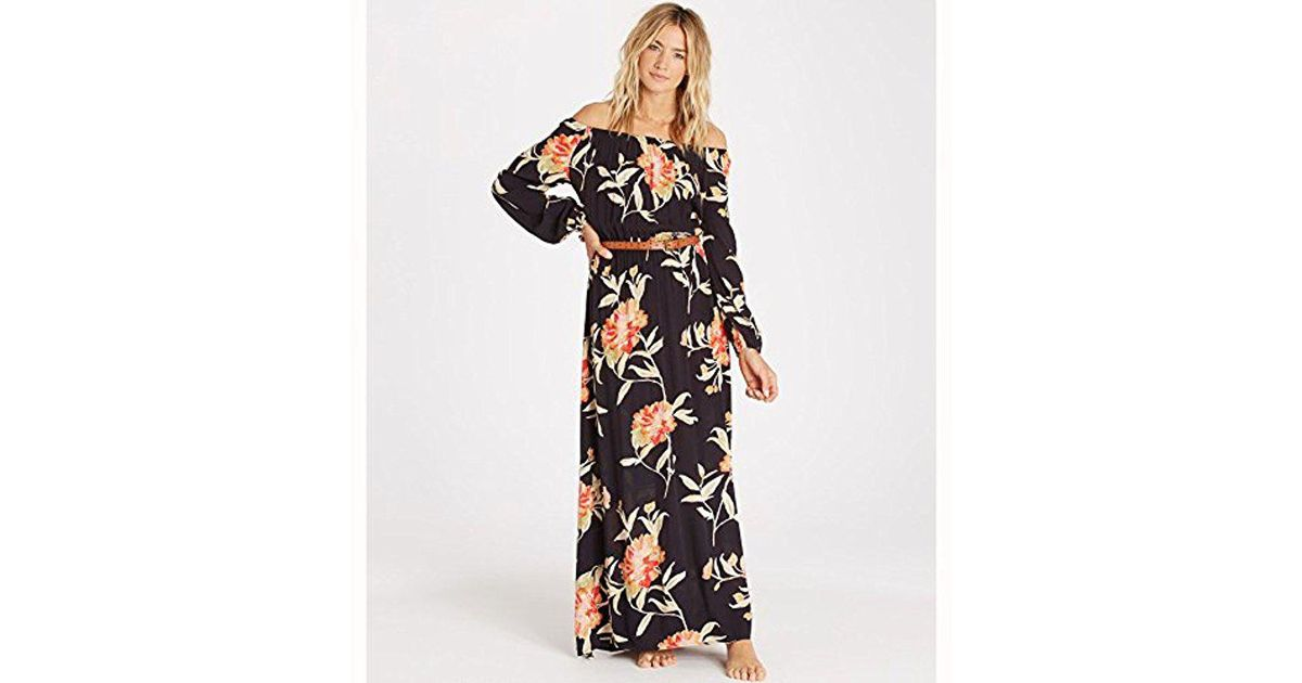 788e641e83d Billabong Junior's Crystal Ball Off The Shoulder Printed Maxi Dress in Black  - Lyst