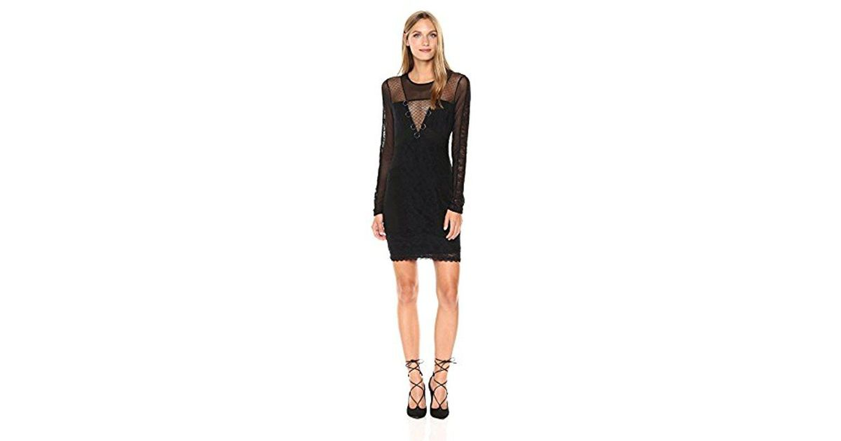 Lyst Guess Long Sleeve Delfina Lace Mix Dress In Black