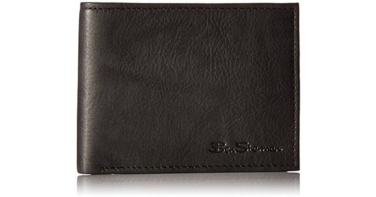 d6eb0ba9ad27 Lyst - Ben Sherman Manchester Full Grain Cowhide Marble Crunch Leather  Passcase Wallet With Flip Up Id Window With Rfid in Black for Men - Save ...