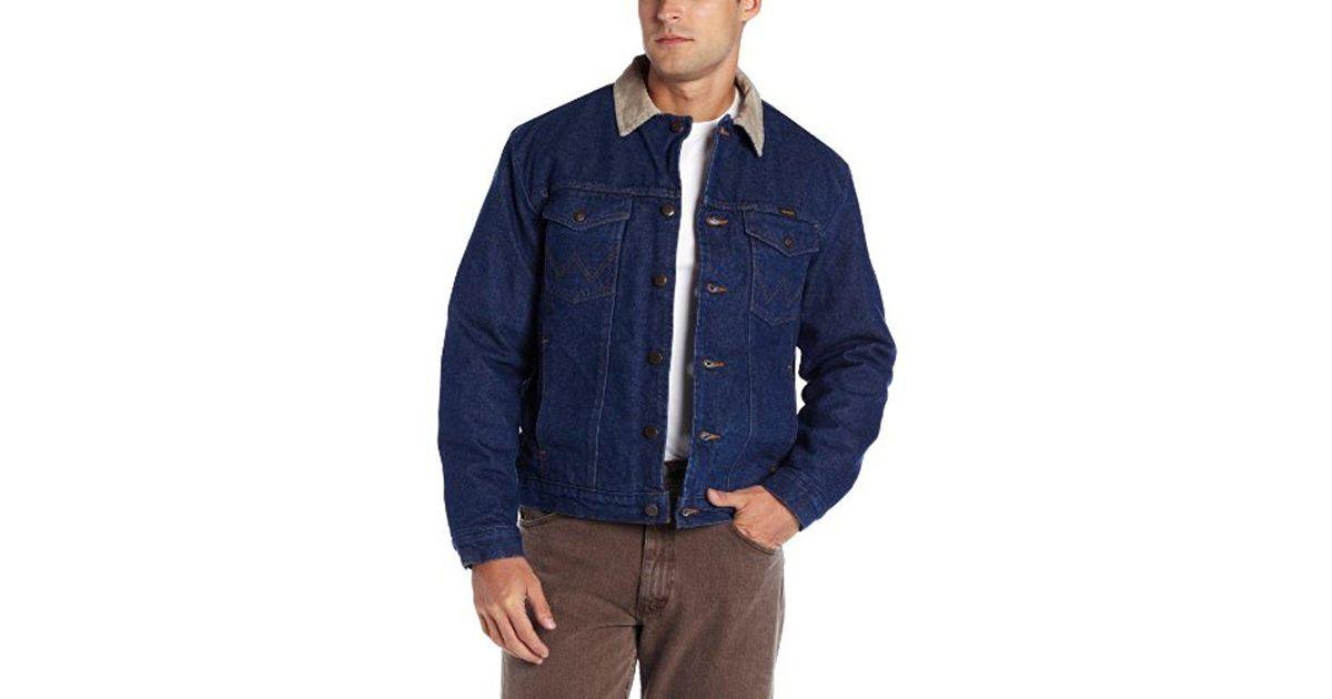 369bb9f7c2 Lyst - Wrangler Regular Blanket Lined Denim Jacket in Blue for Men