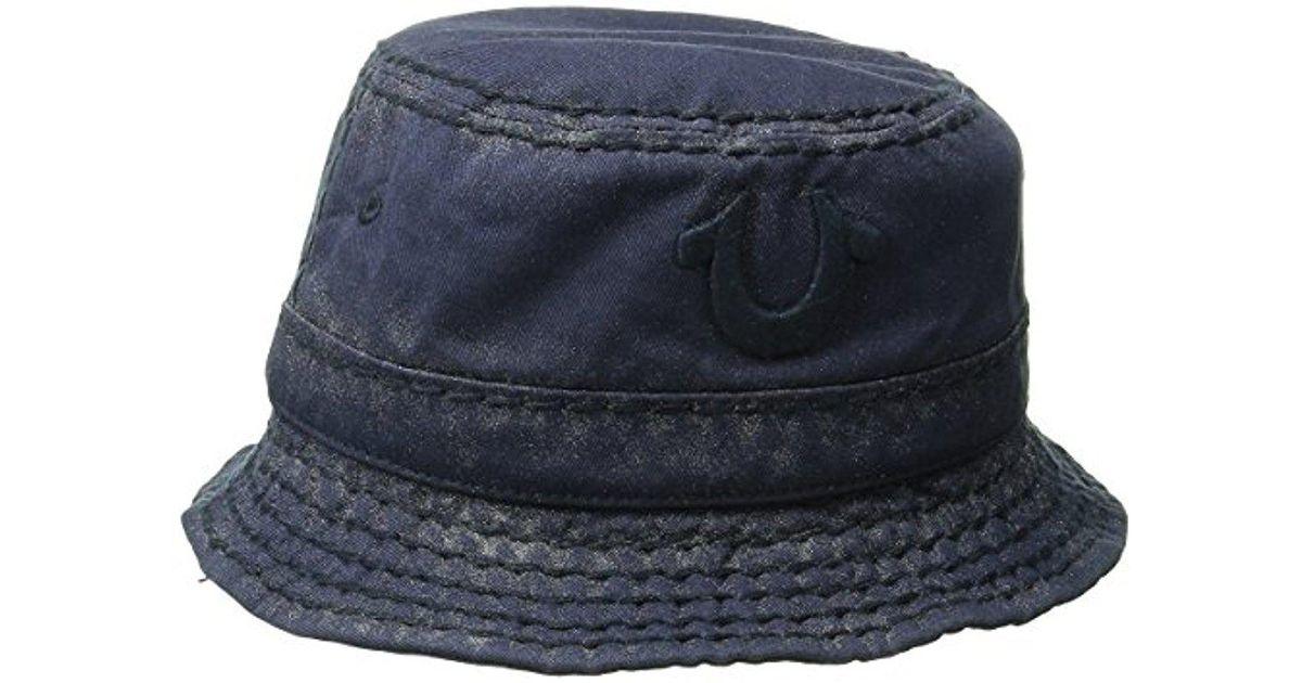 0489a345c17 Lyst - True Religion Metallic Paint Bucket Hat in Blue for Men