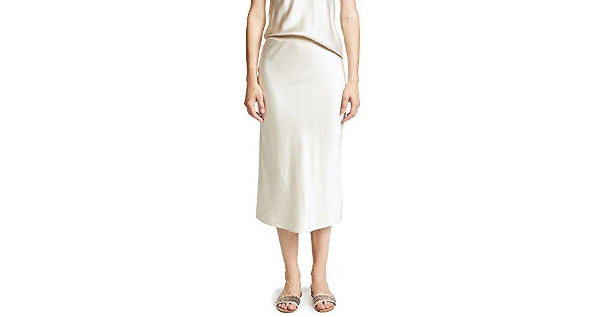 b8dadcf45e8c Theory Pull On Midi Slip Skirt in White - Lyst