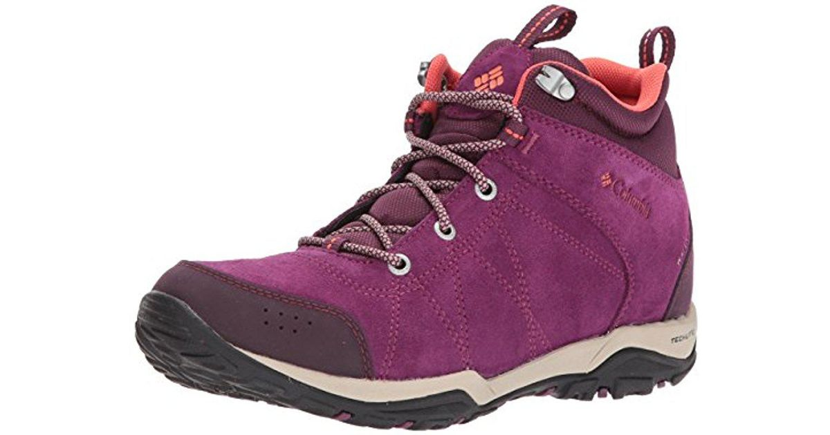 34fafc9cb330 Lyst - Columbia Fire Venture Mid Waterproof Hiking Boot in Purple