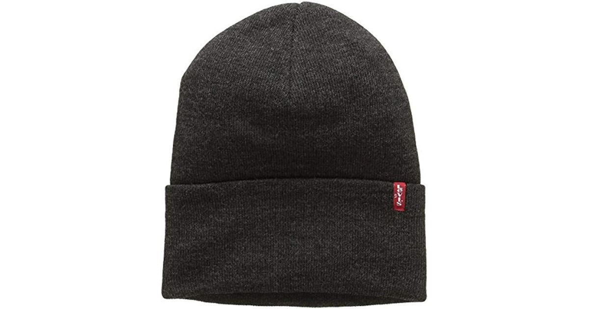 b27a3092c72 Levi s Hats New Slouchy Beanie Hat With Red Tab Detail in Gray for Men -  Save 13% - Lyst