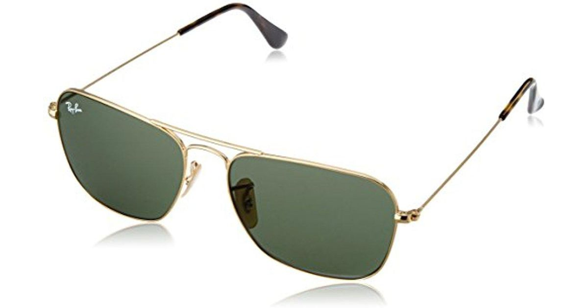 bc88e4a956 ... coupon lyst ray ban caravan rb3136 181 non polarized sunglasses gold  frame dark green lenses 55mm