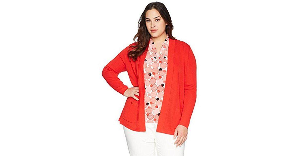 a59319b6007 Anne Klein - Red Size Plus Malibu Cardigan - Lyst