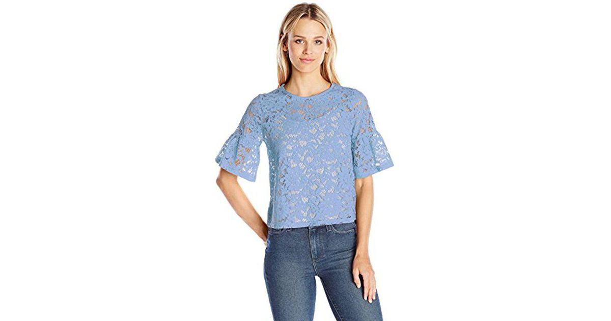 701322b88 PARIS SUNDAY Short Sleeve Lace Top in Blue - Lyst
