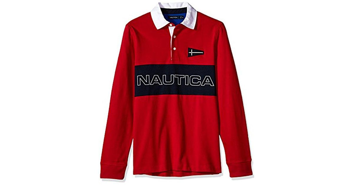 2e0f929b Nautica Big And Tall Heritage Logo Long Sleeve Polo Shirt in Red for Men -  Save 20% - Lyst