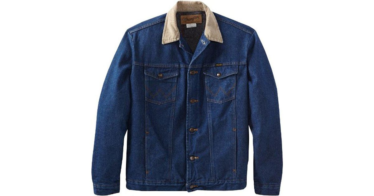 53c568a05a Lyst - Wrangler Tall And Big Blanket Lined Denim Jacket in Blue for Men -  Save 16%