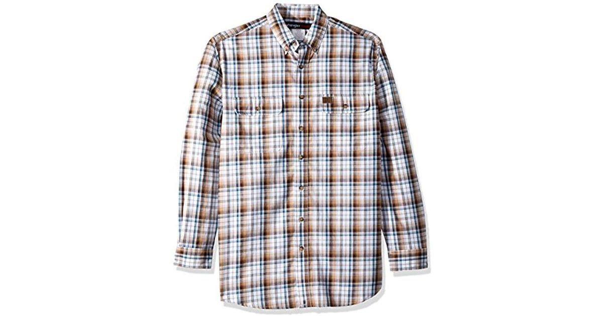 e6127c3efa Lyst - Wrangler Riggs Workwear Big   Tall Foreman Long Sleeve Work Shirt in  Brown for Men