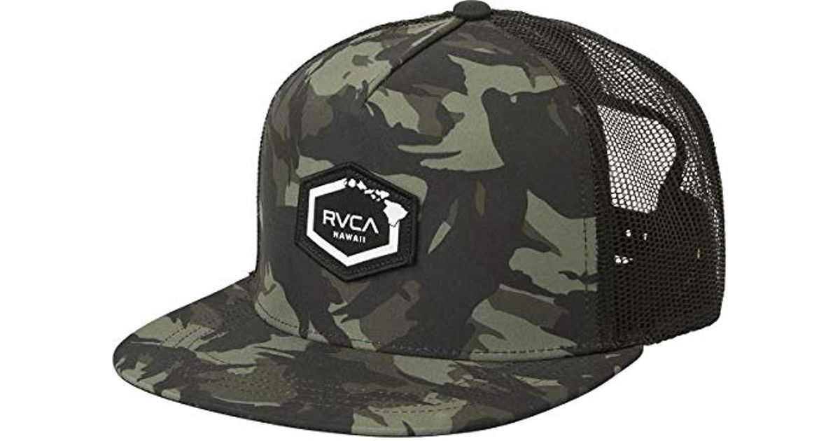 a15a06b6 ... where to buy lyst rvca hawaii hex patch trucker hat in green for men  17472 0314e new ...