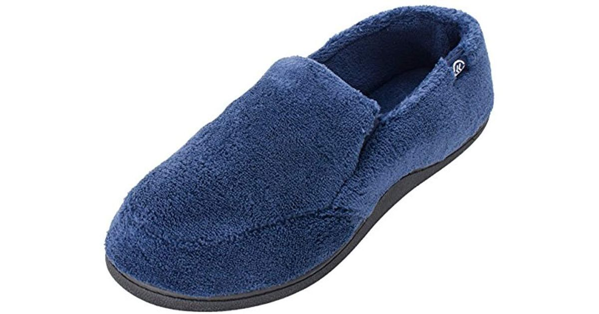 5259cc38aa5 Lyst - Isotoner Terry Moccasin Slipper With Memory Foam For Indoor outdoor  Comfort in Blue for Men