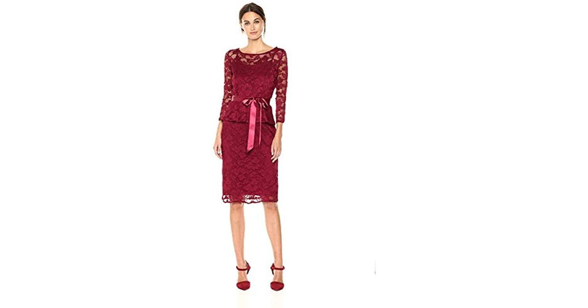 07646dccf7b Chetta B Red 3/4 Sleeve Plus Size Lace Peplum Dress