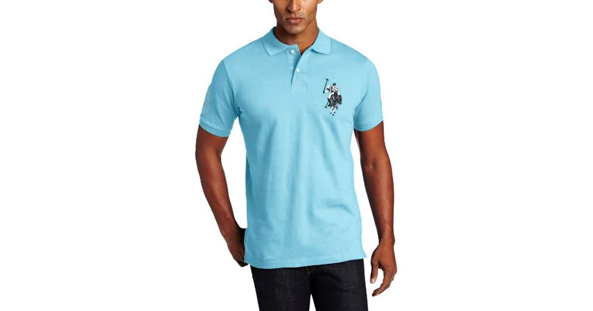 90bdf97cbee Lyst - U.S. POLO ASSN. Solid Polo Shirt in Blue for Men