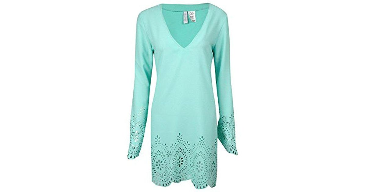 c5c8f79734 Lyst - Kenneth Cole Reaction Scalloped Away V-neck Tunic Cover Up in Green