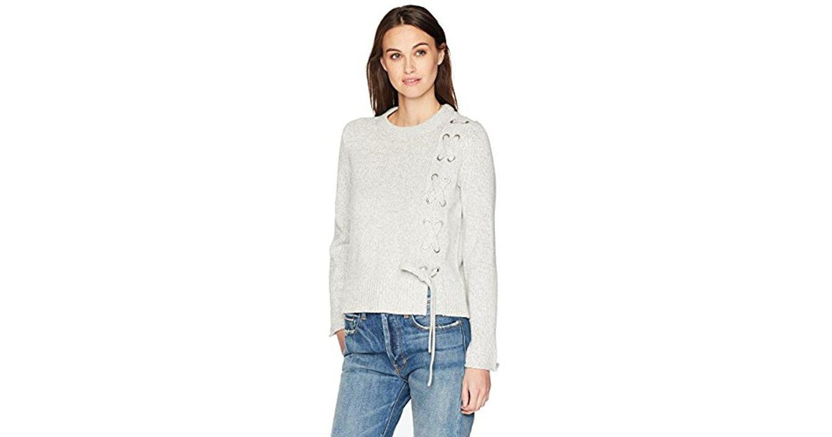 Calvin Klein Multicolor Jeans Funnel Neck Lace Up Pullover Sweater Lyst