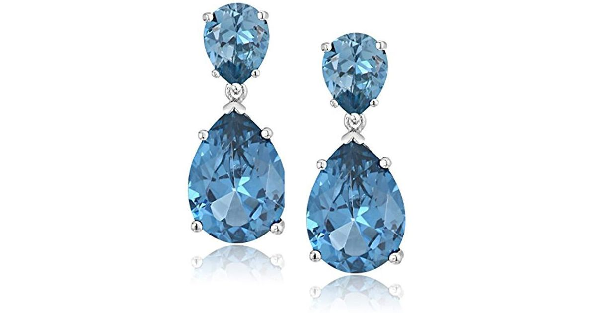 Lyst Cz By Kenneth Jay Lane Cubic Zirconia Double Pear Drop Earrings In Blue