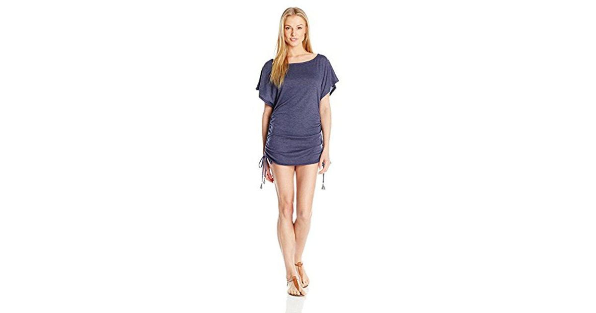 2d7f9b65d2 Lyst - Lucky Brand Junior s Festival Medallion Knit Shirred Tunic Cover Up  in Blue