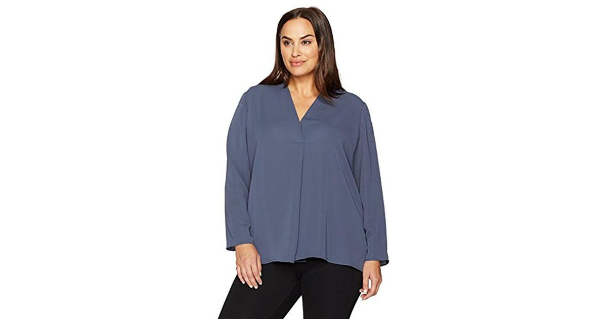 d8d1a29c93d Lyst - NIC+ZOE Plus Size Majestic Matte Shirt in Blue