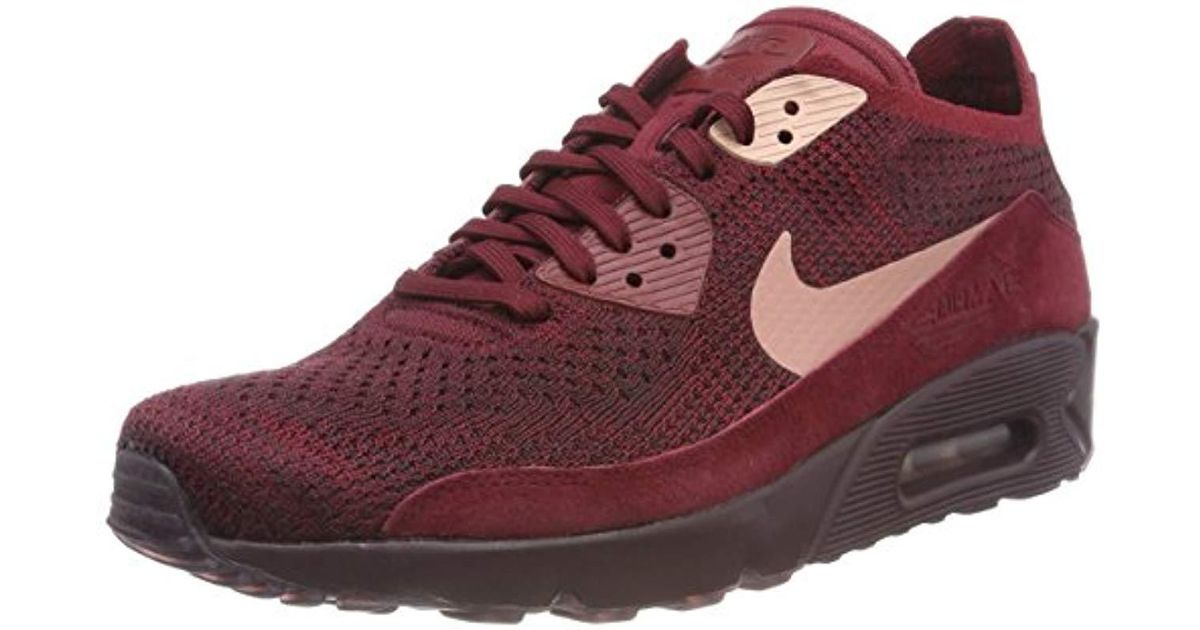 9fb7eba241 Nike Air Max 90 Ultra 2.0 Flyknit Trainers Olive in Red for Men - Lyst