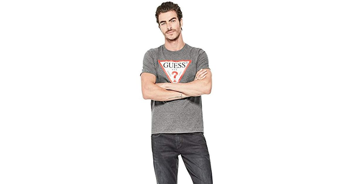 0b1d85f2 Guess Short Sleeve Triangle Logo T-shirt in Pink for Men - Lyst