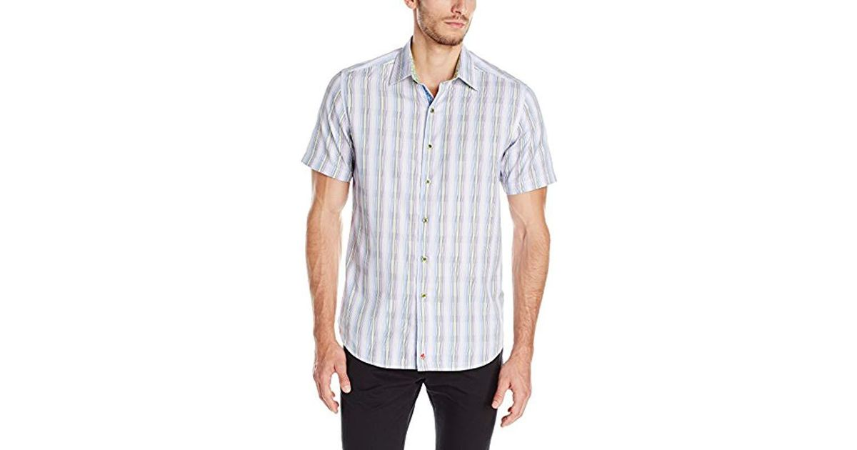 3b5c3d78 Lyst - Robert Graham Iolani Palace Short Sleeve Button Down Shirt in Purple  for Men