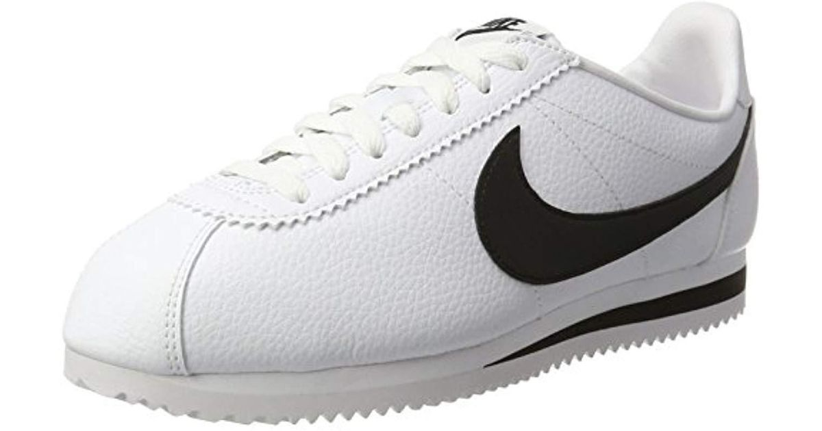 67c9972be5c4 Nike  s Zapatillas Classic Cortez Leather White black Running Shoes in  White for Men - Save 31% - Lyst