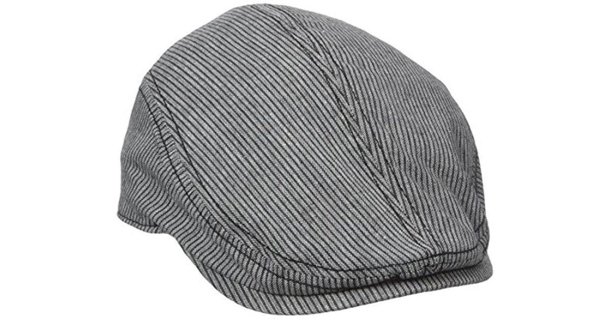 03921c44bd6 Lyst - Ben Sherman Linen Stripe Driver Hat in Black for Men