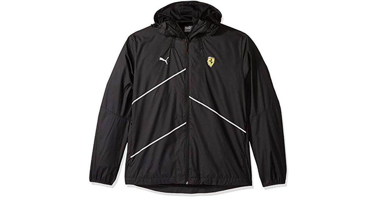 f2f851e725af1 PUMA Black Scuderia Ferrari Nightcat Logo Woven Jacket for men