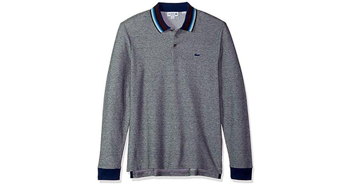 56c27abe Lacoste Holiday Long Sleeve Slubbed Pique Polo-regular Fit in Blue for Men  - Lyst