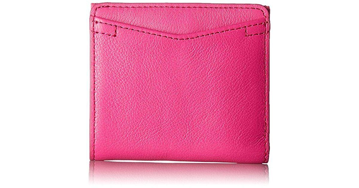 8c4a2805d58f ... fossil caroline rfid mini wallet hot pink wallet in pink lyst; new ...