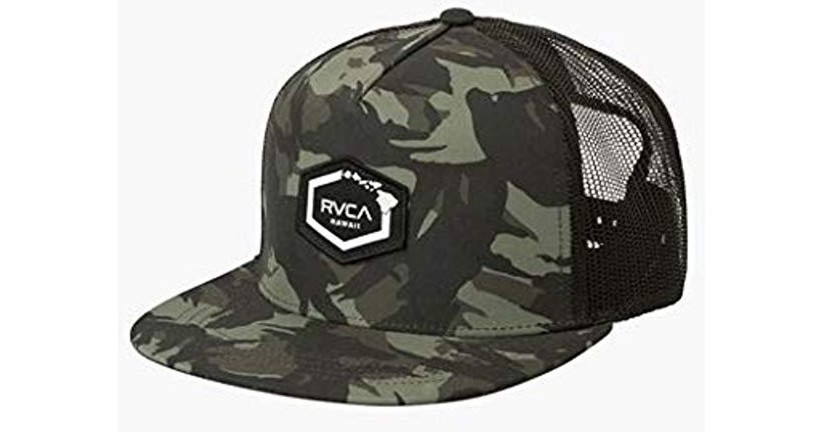 9bca6224 ... where to buy lyst rvca hawaii hex patch trucker hat in green for men  9b3e1 6f61b