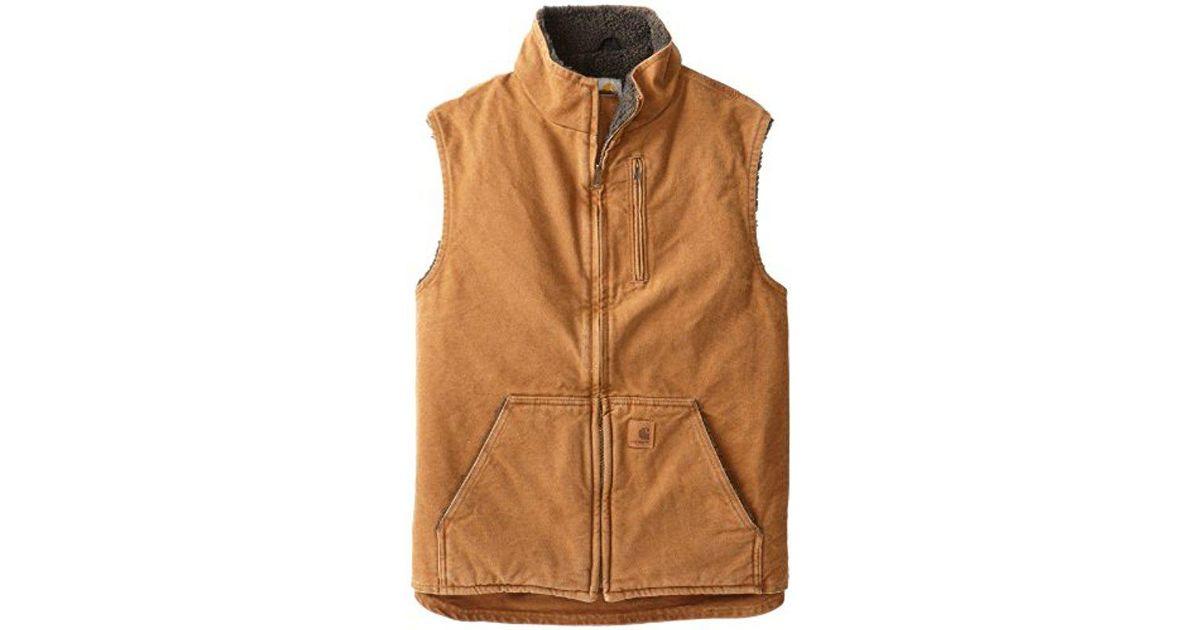 b3d173c4d086 Lyst - Carhartt Sherpa-lined Mock-neck Vest in Brown for Men