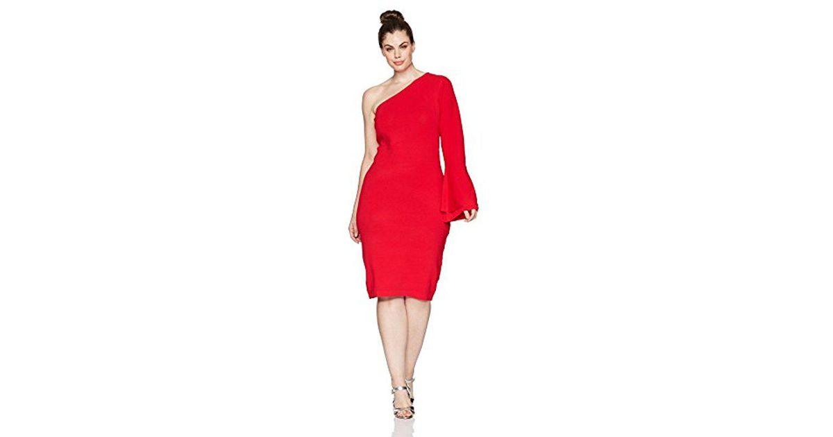 Lyst Rachel Rachel Roy Plus Size One Shoulder Bell Sleeve Dress In Red