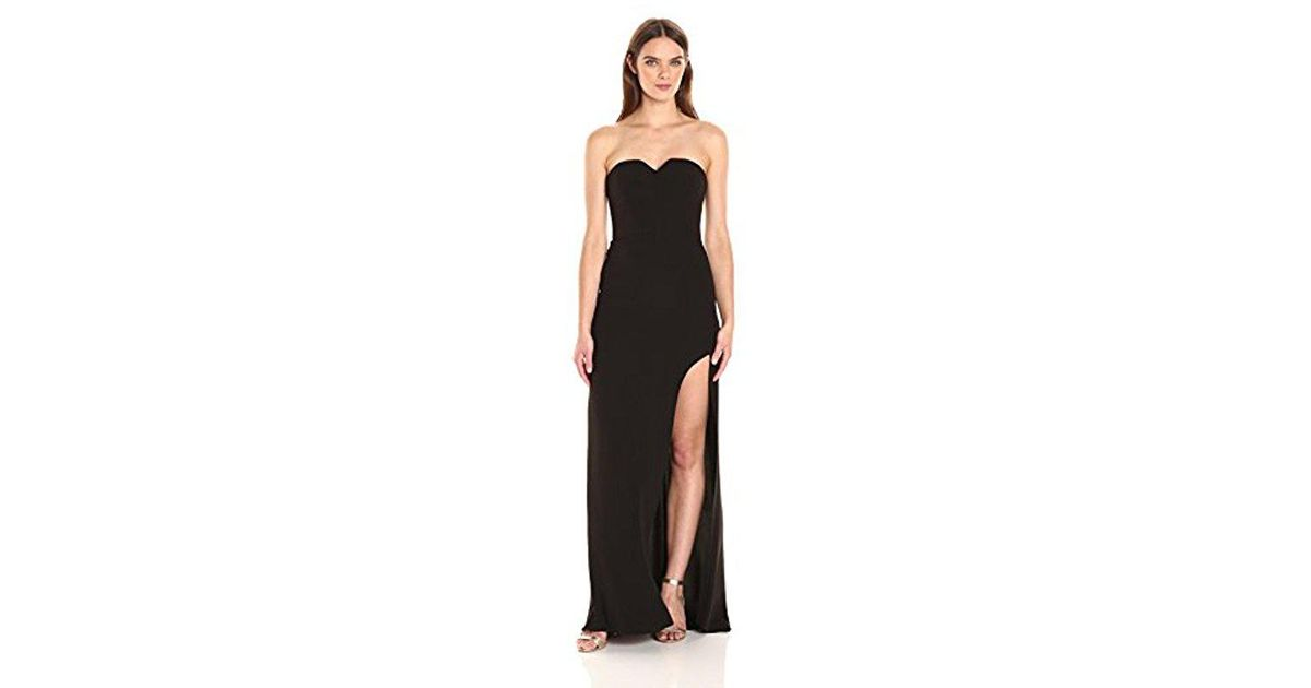 209d9eb57ab5 Lyst - Halston Strapless Gown High Slit in Black