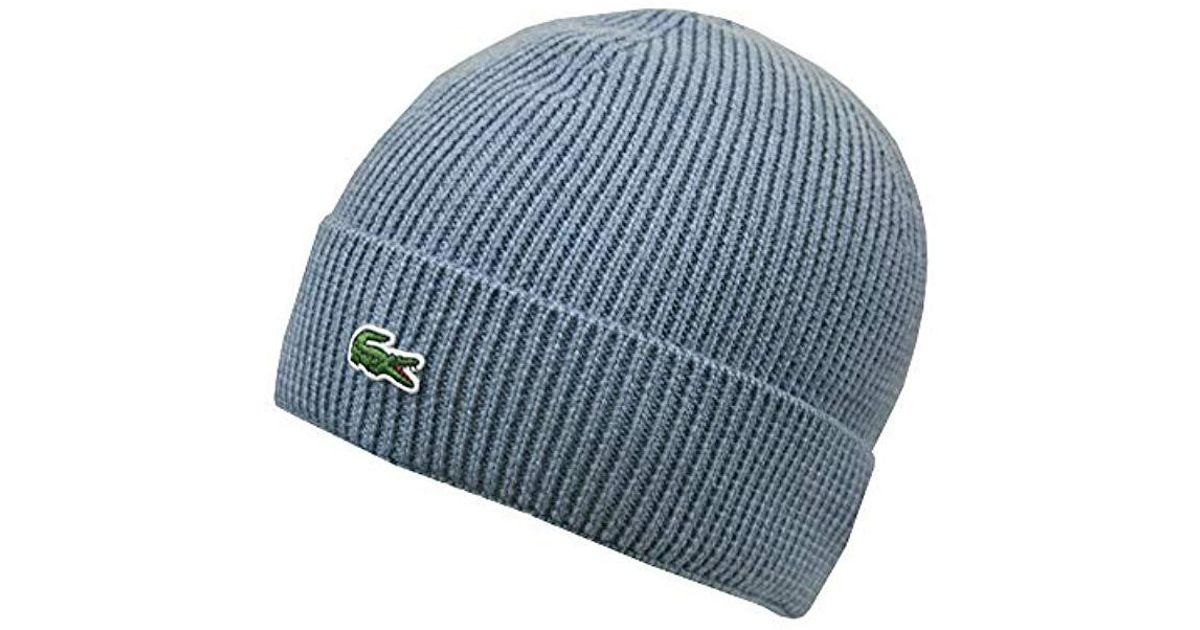 43f63b0cad04 Lacoste Ribbed Beanie With Flap Accessories in Blue for Men - Lyst