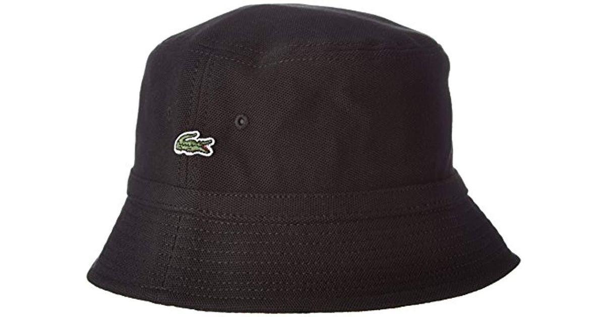 Lacoste Bucket Hat White in Black for Men - Lyst 2e9c3ada8a0