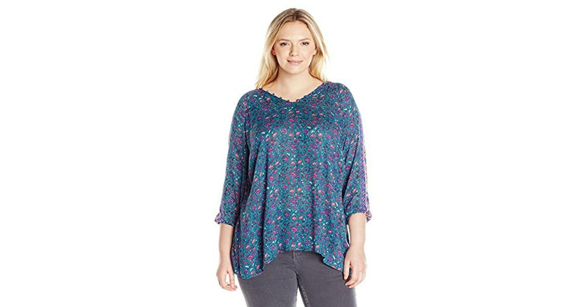 Lyst Lucky Brand Plus Size Roadmap Print Blouse In Blue Save