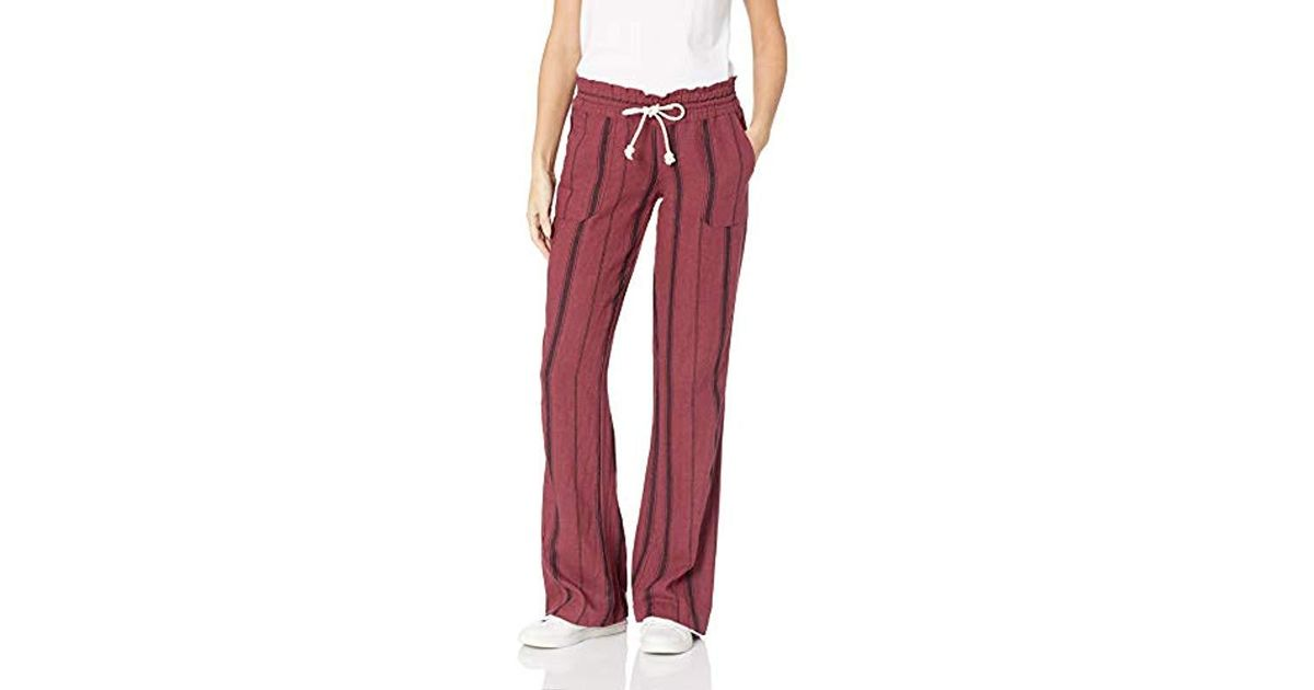 2f5426fc7f Lyst - Roxy Oceanside Yarn Dye Beach Pant in Red