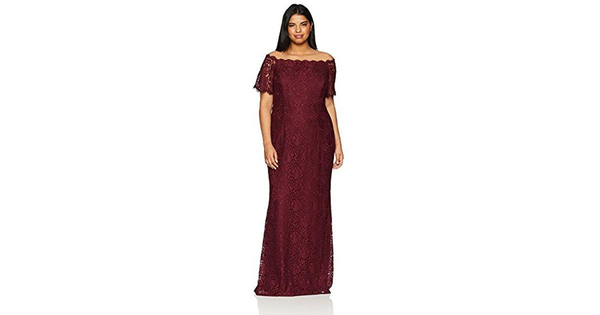 9024a68e53e Lyst - Adrianna Papell Plus Size Lace Off The Shoulder Mermaid Skirt Long  Dress in Purple