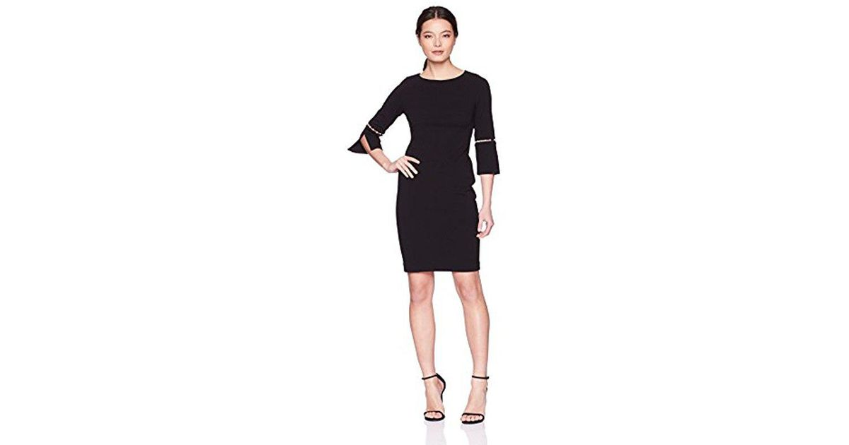 b03f10d5 Lyst - Calvin Klein Petite Solid Sheath With Detailed Split Sleeve Dress in  Black - Save 48.507462686567166%