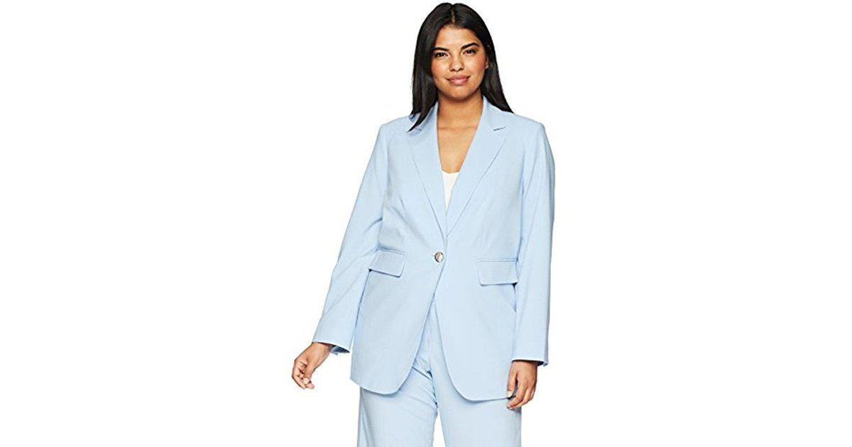 e791ce1e53ef Lyst - Calvin Klein 205W39Nyc Plus Size One Button Lux Blazer in Blue