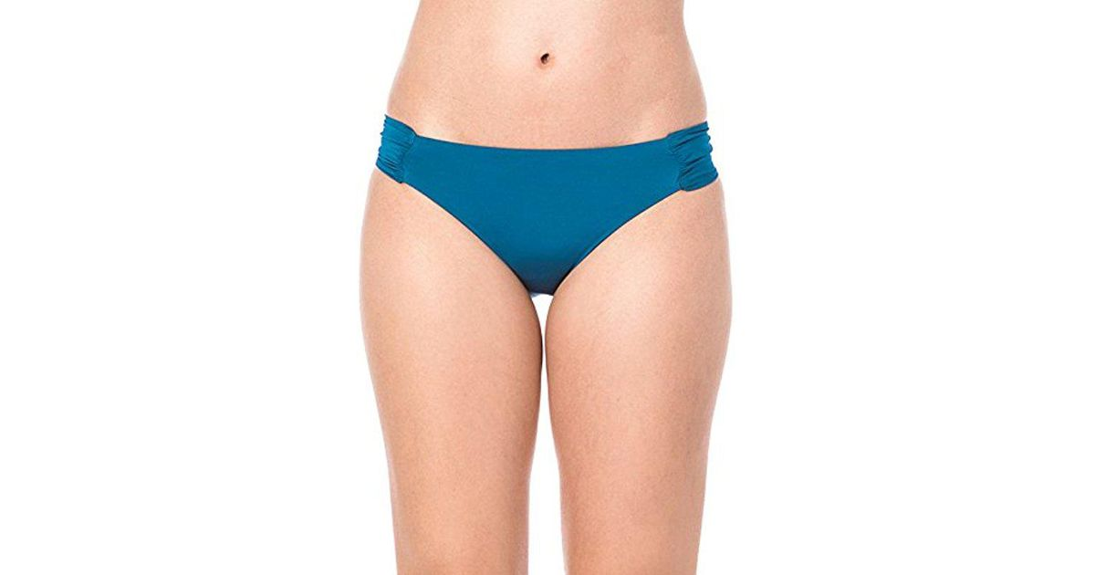 f2278d35d1a83 Lyst - Trina Turk Indo Solids Shirred Side Hipster Bikini Bottom in Blue