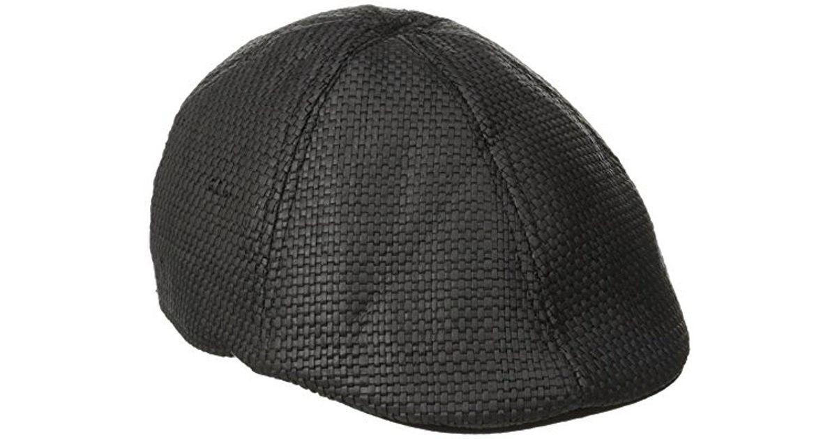486a29b19ff39 Lyst - Original Penguin Victor Straw Driving Cap in Black for Men