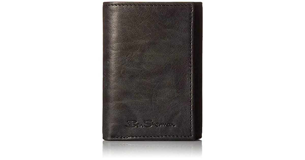 51c8148de7b4 Lyst - Ben Sherman Manchester Full Grain Cowhide Marble Crunch Leather  Trifold Wallet With Id Window With Rfid in Black for Men